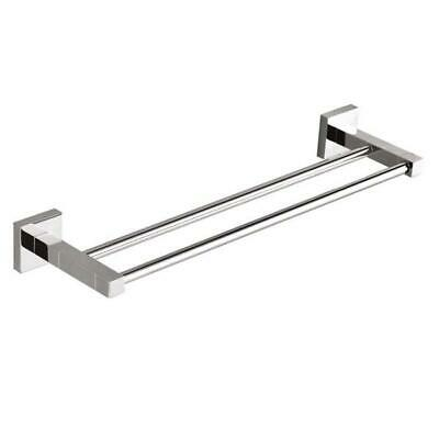 Messina Square Double Towel Rail 600 mm Bathroom Accessories Brass & Chrome
