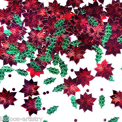 70g Bigger Bag Christmas Party Red Green Festive Flowers Foil Confetti Sprinkles