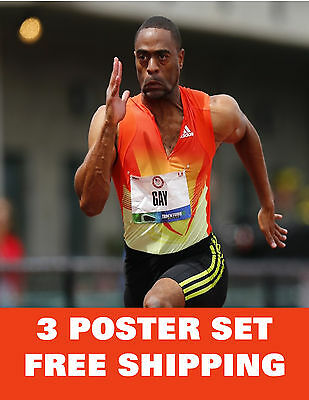 TYSON GAY  united states olympic games 2012 london excercise running 3 POSTERS !