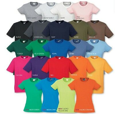 Ladies Ice Tee Shirt 100% Cotton 23 Colours Sizes 6 8 10 12 14 T-Shirt S/Sleeve
