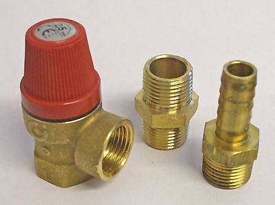 """Press Relief Valve 2.5bar 1/2"""" bsp with fittings PRV37F"""
