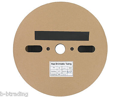 "100 Ft  1/2"" ID (12.7mm) Black Polyolefin 2:1 Heat Shrink Halogen-Free RoHS UL"
