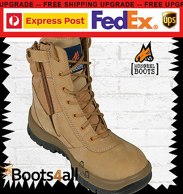 """New Mens Mongrel Work Boots ZIP Lace Up Safety Steel Toe 9"""" High Leg 251050"""