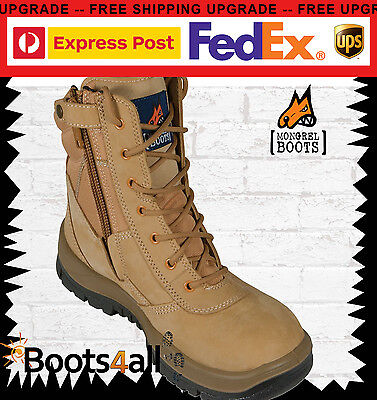 """New Mongrel Work Boots ZIP+Lace Safety 9"""" Lace Up High Leg FREE EXPRESS 251050"""