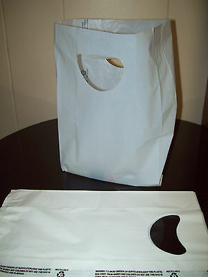 """100 Bags 7 x 3 x 12"""" White Plastic Merchandise Bags with Handles New"""