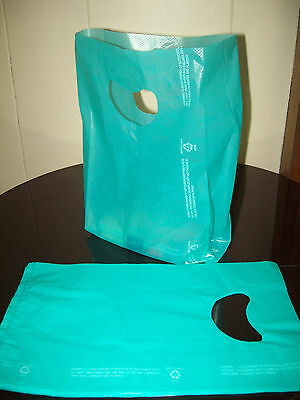 """100 Bags 7 x 3 x 12"""" Teal Plastic Merchandise Bags with Handles New"""