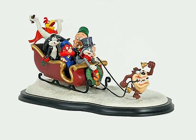 """Collectible Looney Tunes """"Laughing All the Way"""" Sleigh with certificate"""