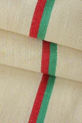 Vintage French unused linen cotton Christmas fabric ~ red green stripes ~
