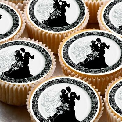 24 icing cake toppers edible decorations bride groom wedding black white