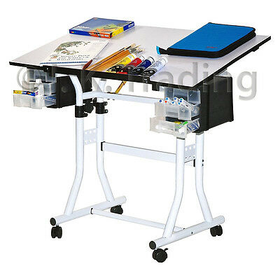 Drafting Table Drawing Table Hobby Art Drawers Adjustable Height Tilt Wheels CS