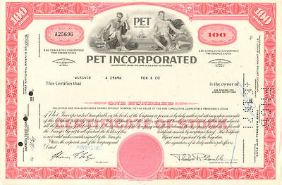 PET Milk Company   1969 red stock certificate share   scripophily