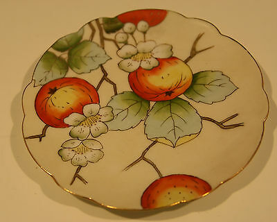 """ANTIQUE VIENNA CHINA GOLD RIMMED HANDPAINTED APPLE BLOSSOM 6"""" FLUTED PLATE"""