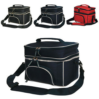 New 2 Layers Lunch Box Picnic Cooler Bag Wine Cooler Insulated Travel Black Red