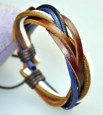 Cool Surfer Genuine Leather & Hemp Braided Bracelet Wristband Brown & Blue