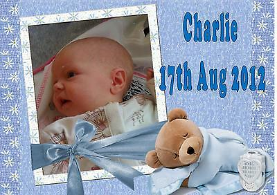 Own photo picture personalised  A4 cake topper icing New baby christening teddy