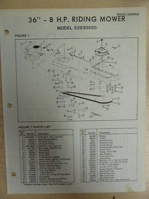 "AMF 36"" 8 H.P. RIDING MOWER PARTS LIST MANUAL MODEL 52830500"