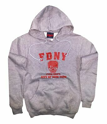 Kids FDNY Hoodie Gray Red Sweatshirt Fire Department of New York Youth Boys XS-L