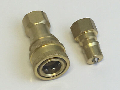 "Set of 1/4"" Quick Disconnects For Carpet Cleaning Solution Hose - Brass"