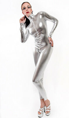 Catsuit Overall Gothic  Lack/Latex look!  Silber/silver