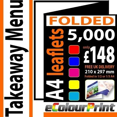 Takeaway FOLDED Colour Menus / leaflets A4 150gms plus 25 Free Posters