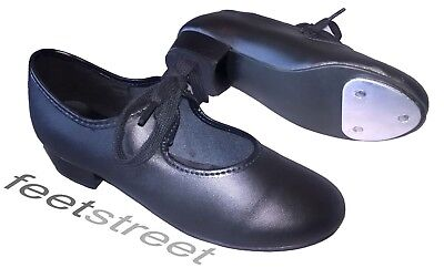 LOW HEEL BLACK PU TAP SHOES WITH TOE TAP   Child Size 6 up to Adults 6.