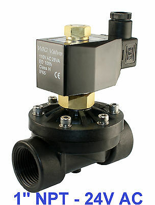 """1"""" Inch NPT Electric Plastic Air Gas Water Solenoid Valve Normally Open  24V AC"""