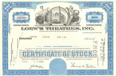 Loew's Theatres > 1969 New York theater 100 share stock certificate collectible