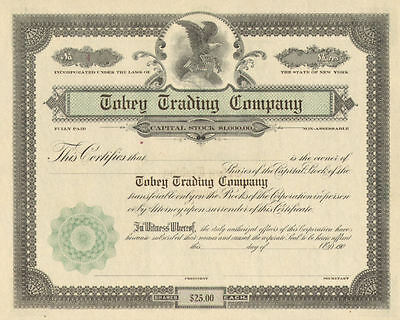 Tobey Trading Company > 190_ New York stock certificate share scripophily