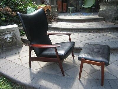 DANISH MODERN TEAK  LEATHER RECLINING LOUNGE CHAIR WITH OTTOMAN MID-CENTURY MOD