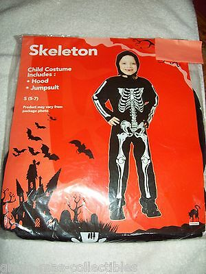 Costume Boys Skeleton Size 5-7 Includes Hood And Jumpsuit Black W/ White Bones