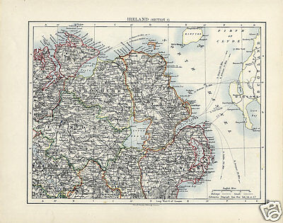 Rare Antique 1906 Map of NORTHERN IRELAND Ulster, MUNSTER Johnston Atlas