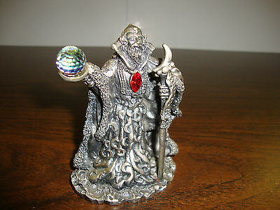 """Pewter Wizard---With Staff & Crystal---The Moon Wizard---3 1/4"""" Tall---Over 1 lb"""