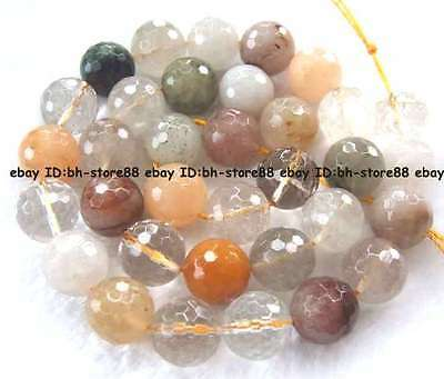 6,8,10,12mm Natural  multicolor Rutilated Quartz Round faceted loose Beads 15''