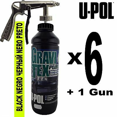 UPol GRAVITEX Stone Chip Overpaintable Protection Black 1 Litre x 6 + Air Gun