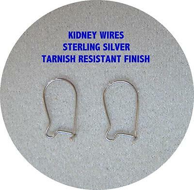 LIQUIDATION - STERLING SILVER KIDNEY EAR WIRES - TARNISH RESISTANT - (LOW PRICE)