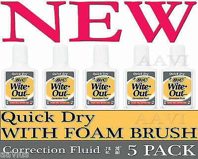 5 Bic Wite.Out Fast Correction Fluid with Foam Brush Applicator Quick Dry White
