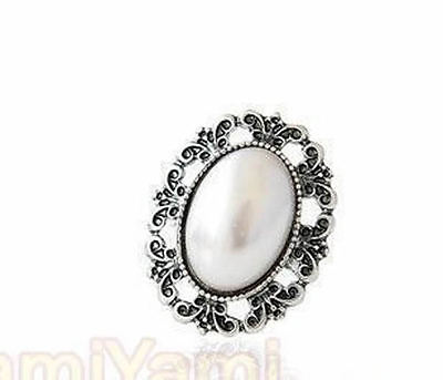 Retro Vintage Engraving Carved Gem Rhinestone Adjustable Hollow Out Ring Silvery