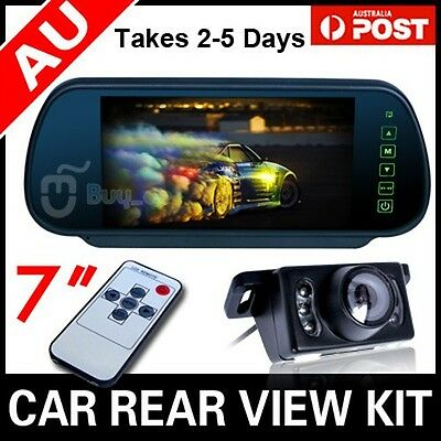 "Car Rear View Kit 7"" Tft Lcd Mirror Monitor + Ir Night Vision Reversing Camera"