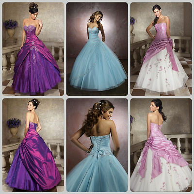 New Bridesmaid Wedding Gown Prom Ball Evening Dress Size 6-8-10-12-14-16