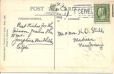 Collectible Us Used 1 Cent Green Ben Franklin Stamp On Postcard, 1910