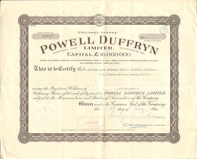 Powell Duffryn Limited   PD Ports stock certificate share   1958 England