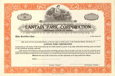 Lantain Park Corporation stock certificate share