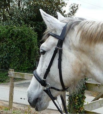 New  ** Cross Over ** Bitless Leather  Bridle with web grip reins - Cob Black