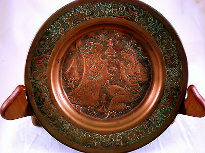 handmade vintage copper wall plate, Persian theme, amazing detail, POB104TFH