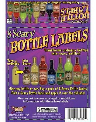 8 X SCARY BOTTLE OR CAN LABELS Wicca Pagan Witch Spell Goth Punk Novelty Fun