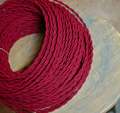 Red Wine/Plum Twisted Cloth Covered Wire, Vintage Style Lamp Cord Antique Lights