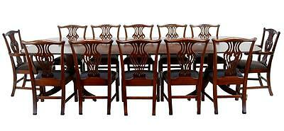 SUPERB QUALITY MAHOGANY PEDESTAL DINING TABLE WITH 10+2 DINING CHAIRS