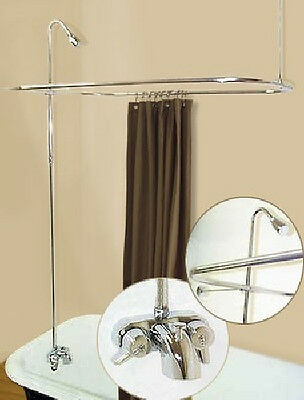 Add-On-Shower W/curtain Bar For Clawfoot Tub On Legs W/heavy Metal Faucet