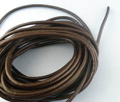 5M Coffee Color Round Real Leather Jewelry Cord 3mm