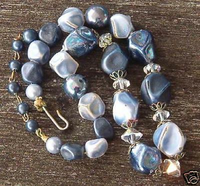 Vintage Costume Jewelry Choker Necklace Blue Plastic Crafts Making Project Shade